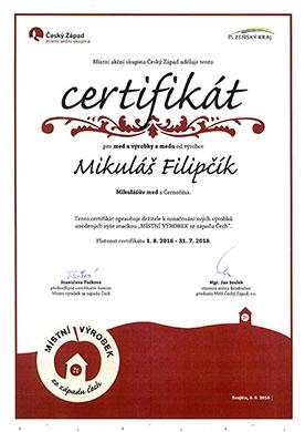 Certifikát Místní výrobek ze západu Čech