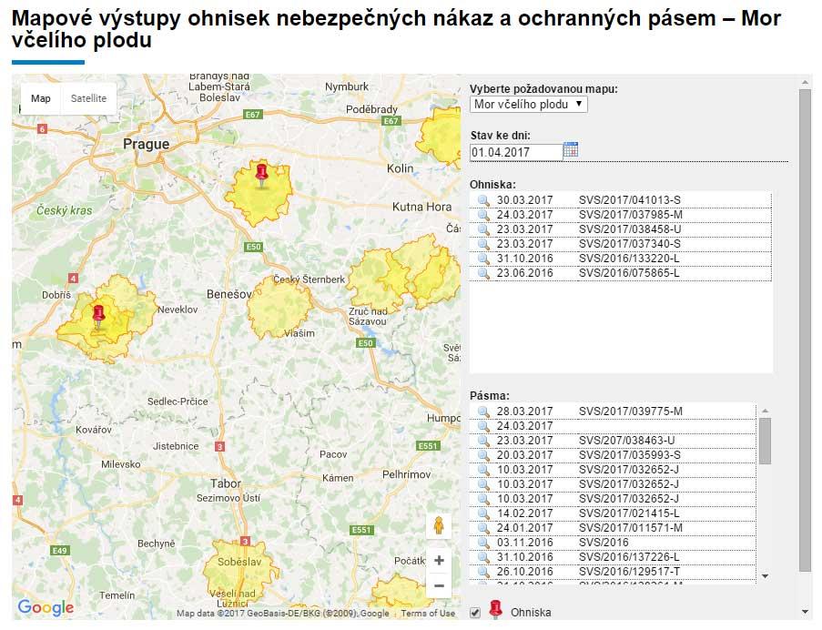Mapa moru včelího plodu v ČR